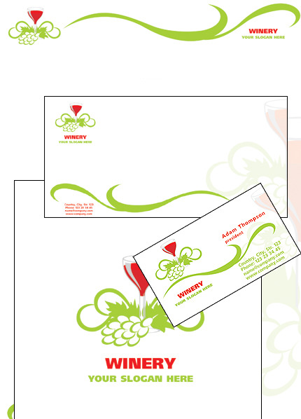Winery Corporate Identity Template Vector Corporate Identity preview
