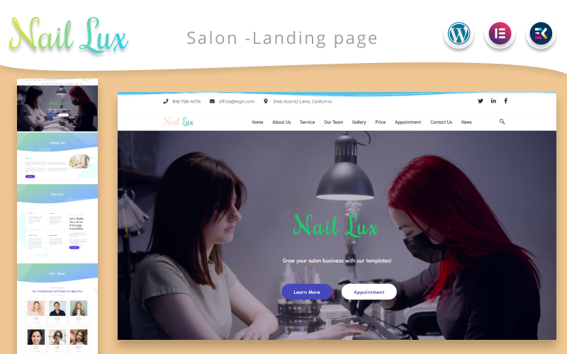Nail Lux  -  Manicure Salon Landing page WordPress Theme