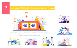 7 Businessman Thinking Time Management - Illustration