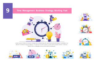 9 Time Management Business Strategy - Illustration