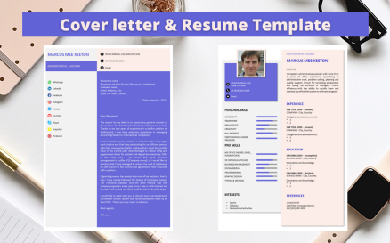 Professional No 14 - Modern Purple & Pink Resume Resume Template