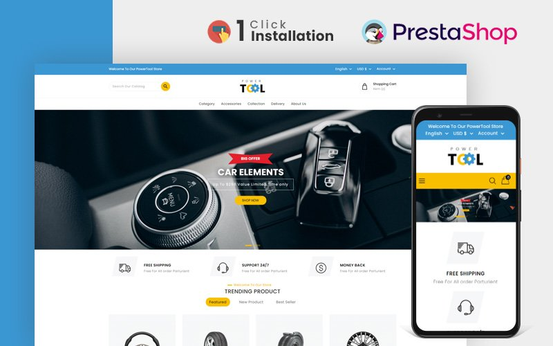 """Power Tools and Accessories Store prestashopTheme PrestaShop Theme"" Responsive PrestaShop Thema №164988"