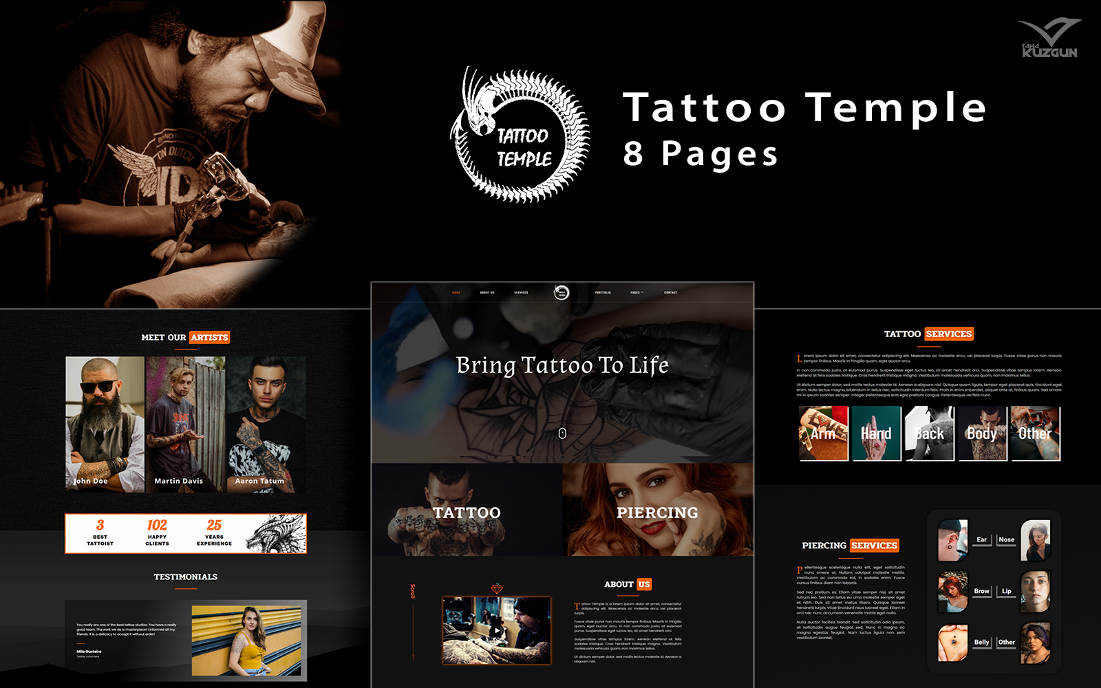 """Tattoo Temple - Tattoo Studio Elementor Kit"" Responsive Elementor Template №164982"