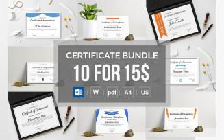 10 Word Docx Certificate Bundle