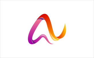Letter A Ribbon Colorful Vector Logo Design Logo Template
