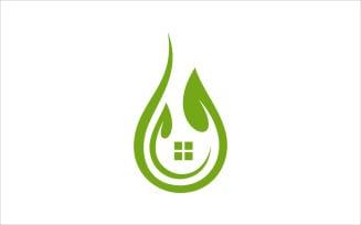 Leaf House Water Drop Vector Logo Design Template Logo Template