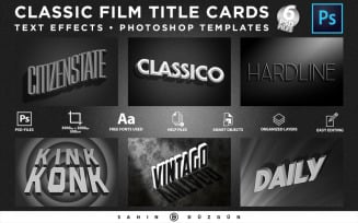 CLASSIC FILM TITLE CARDS | Text-Effects/Mockups | Template-Package Product Mockup
