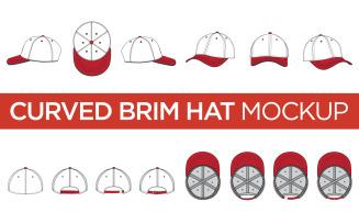Curved Brim Hats - Vector Mockup