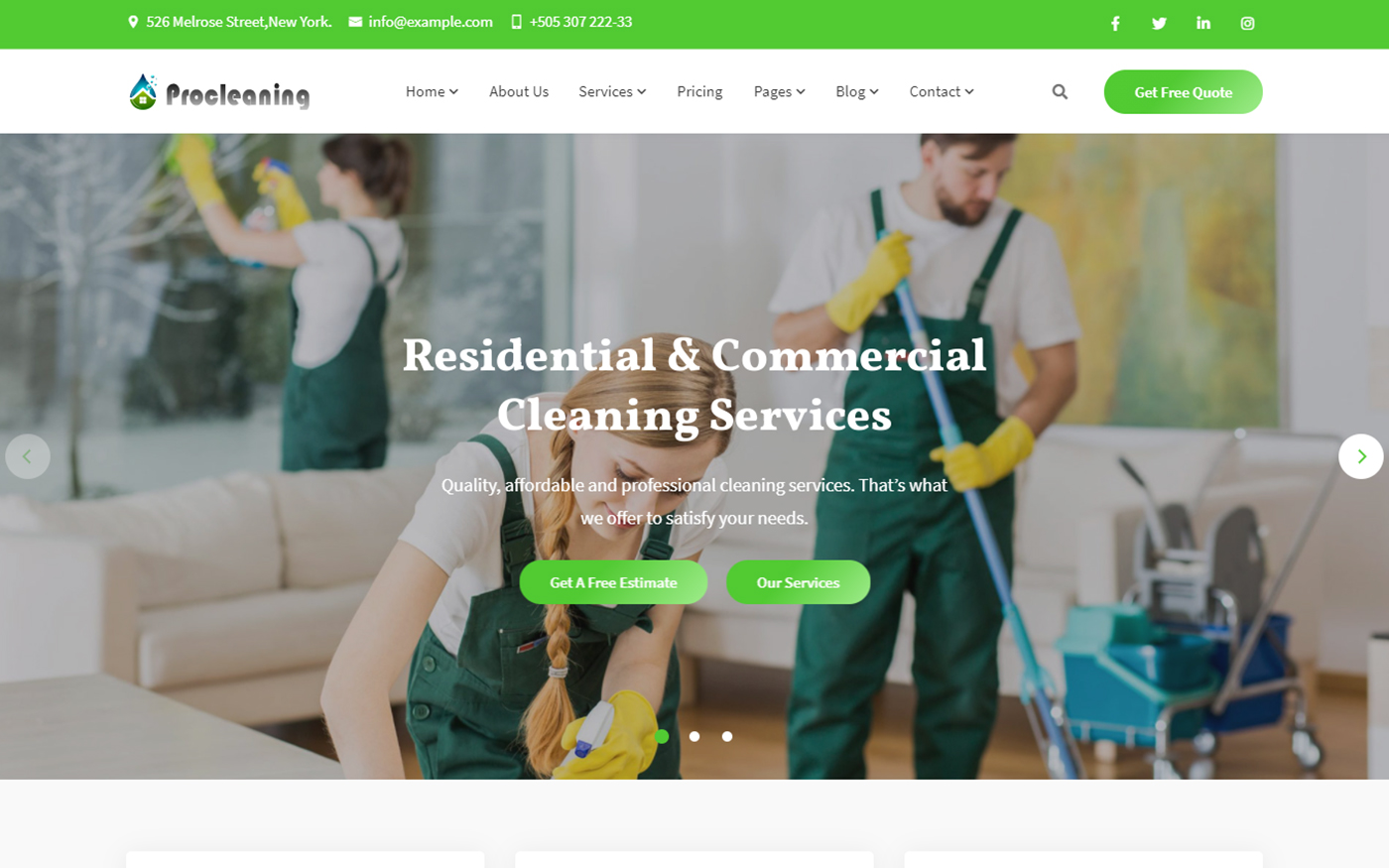 """""""ProCleaning - Cleaning Service & Dry Laundry Website Template"""" 响应式网页模板 #165280"""