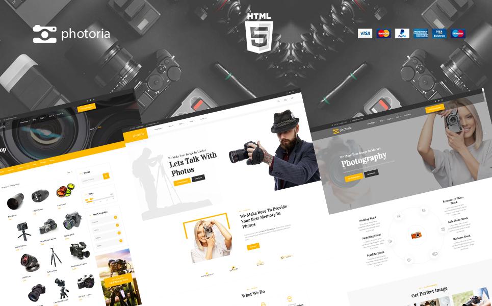 """Bootstrap Šablona webových stránek """"Photoria Photography Showcase and Boutique Website Template"""" #165524"""