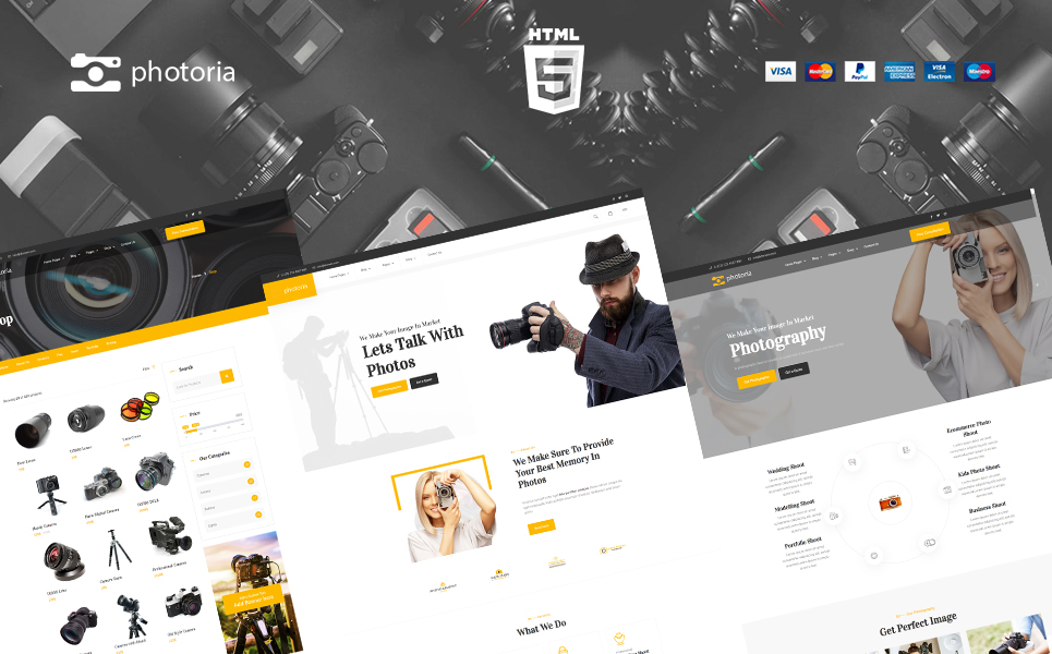 """""""Photoria Photography Showcase and Boutique Website Template"""" Bootstrap网页模板 #165524"""