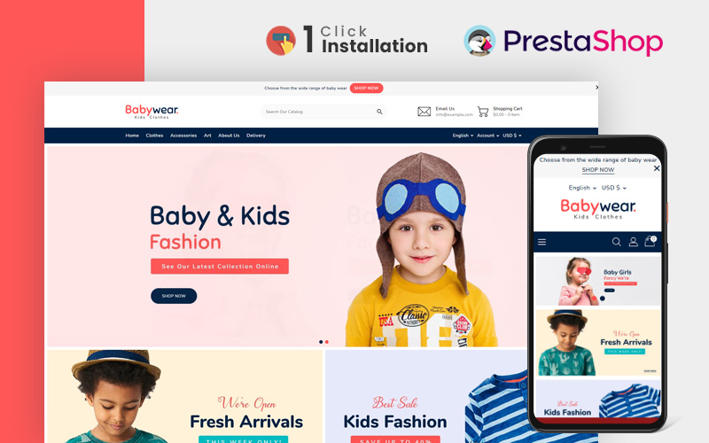 """Baby Wear Clothing Store"" Responsive PrestaShop Thema №165932"