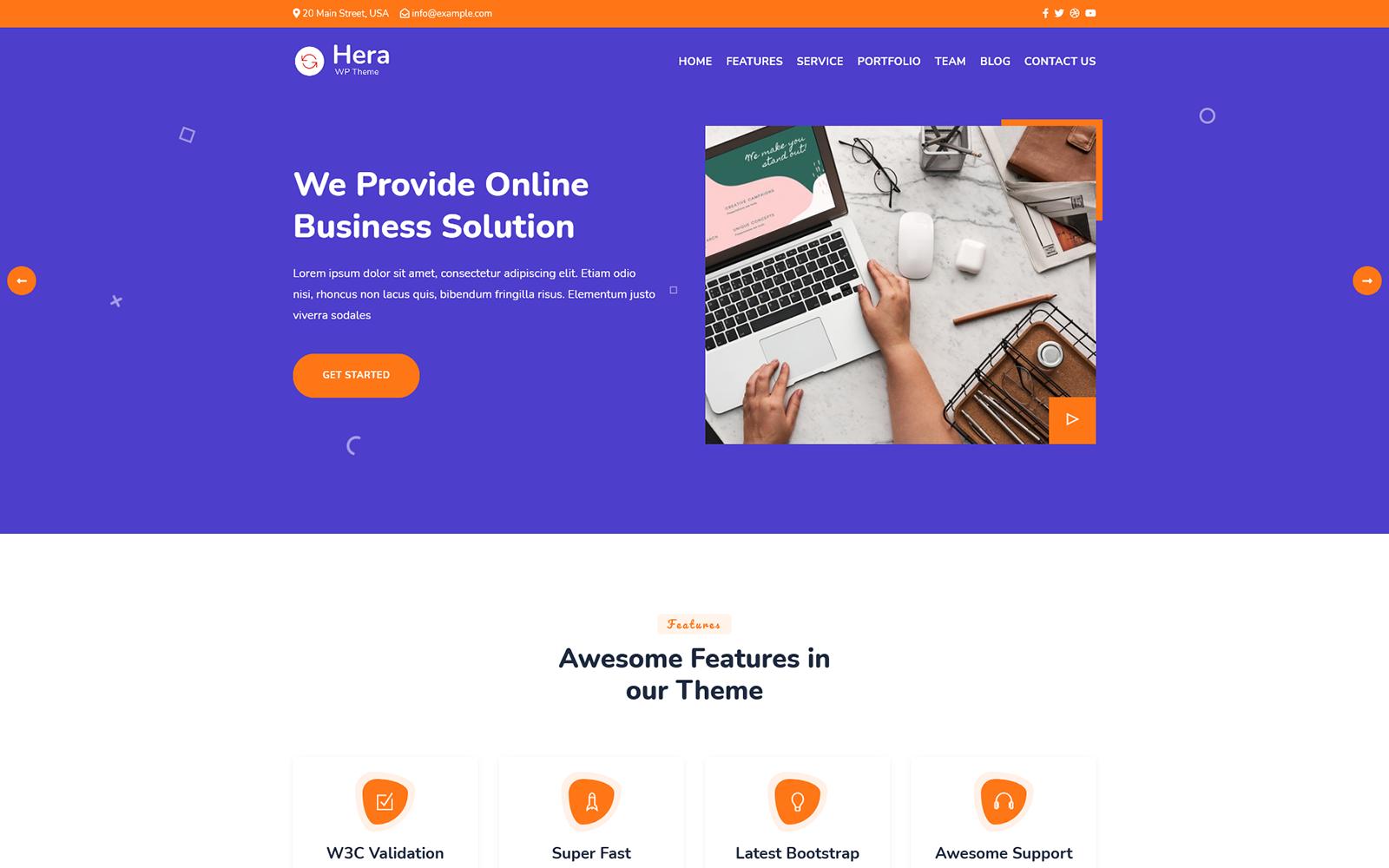 Hera - Digital Agency One page WordPress Theme Tema WordPress №165931