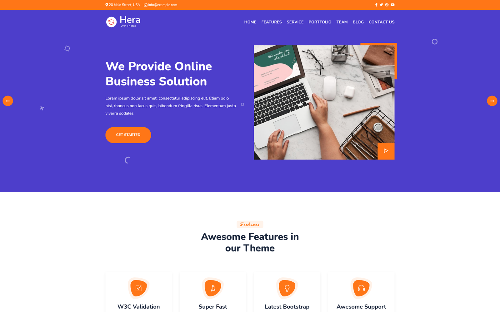 Reszponzív Hera - Digital Agency One page WordPress Theme WordPress sablon 165931
