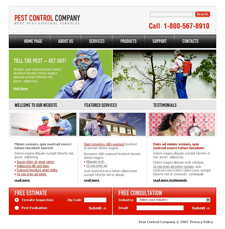 pest control website template 16666. Black Bedroom Furniture Sets. Home Design Ideas