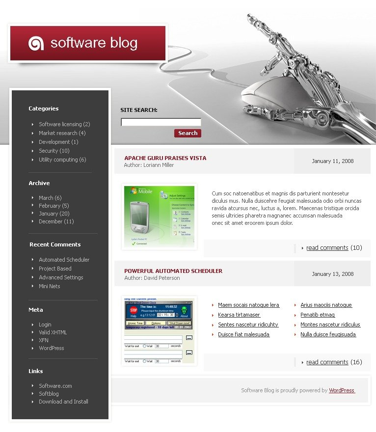 Template wordpress per un sito di software for Recensioni di software planimetrie
