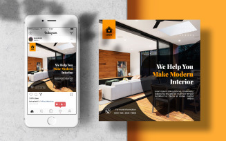 Interior Design Instagram Post Banner Social Media Template