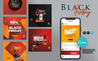 Canva Black Social Media Post & Story Social Media Template
