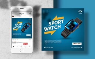 Sport Watch Instagram Feed Banner Template for Social Media