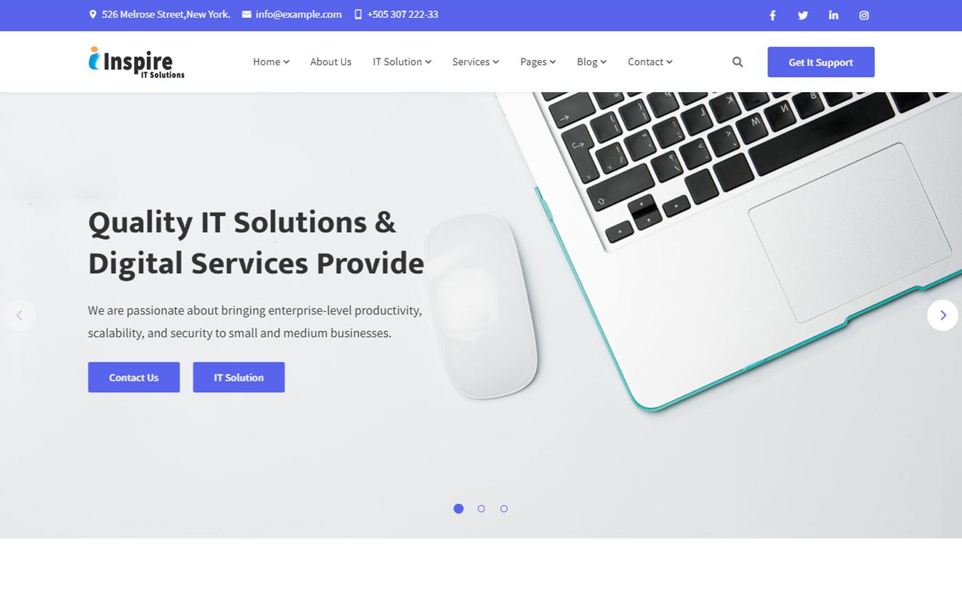 """Responzivní Šablona webových stránek """"Inspire - IT Solution For Your Business"""" #166554"""