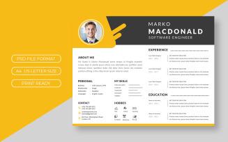 Yellow Curriculum Vitae Template Design