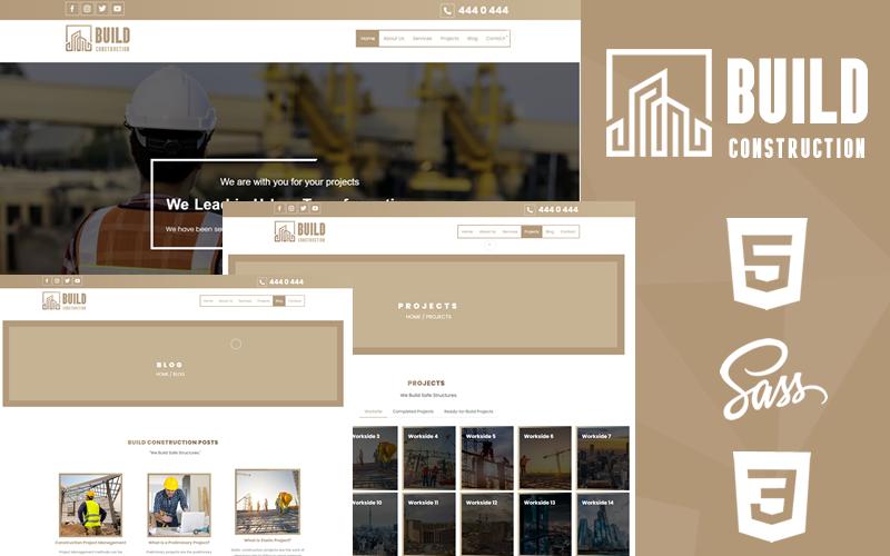 """Build Construction Creative HTML5 & CSS3"" 响应式网页模板 #166941"