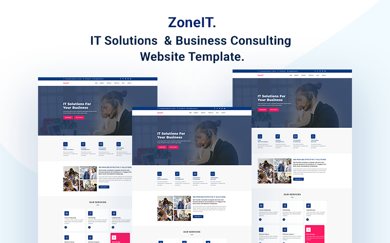 """ZoneIT - IT Solutions & Business Consulting"" Responsive Website template №166940"