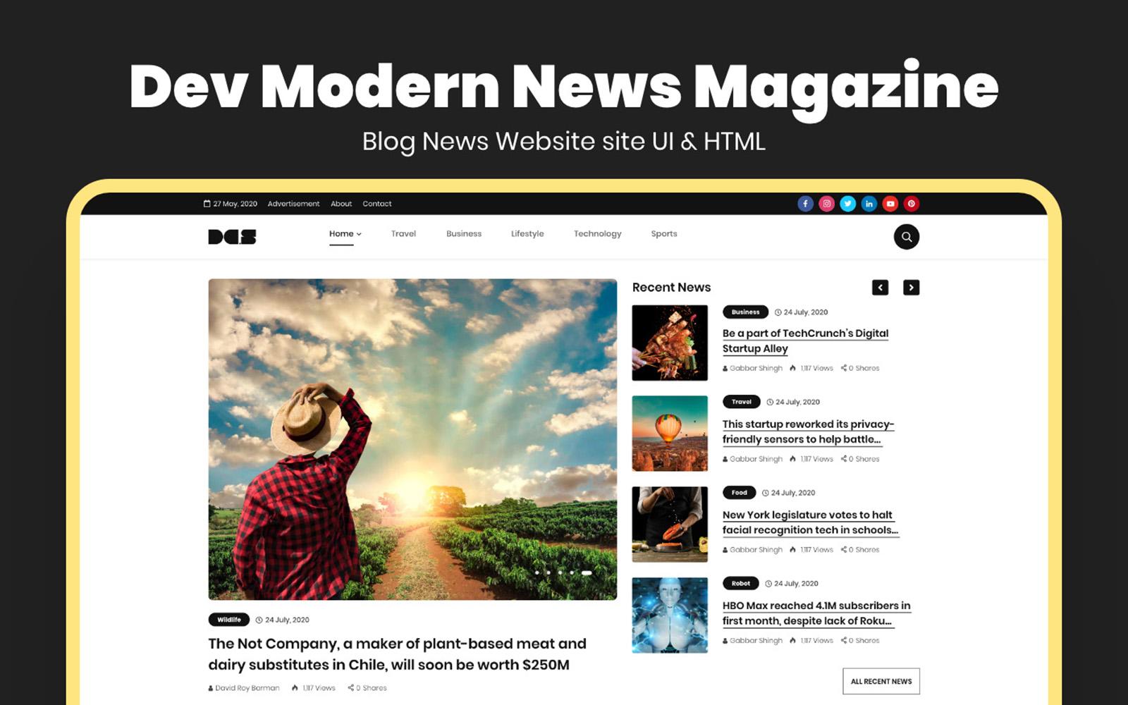 """""""Dev Modern News Magazine Blog Website Template"""" Bootstrap Website template №167221"""