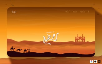 Website Header for Welcoming the Month of Ramadan UI Elements