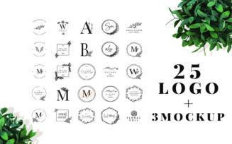 25 Elegant Logos + 3 Quality Mockups Logo Template