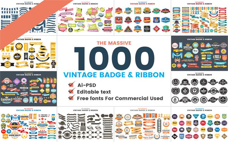 1000 VINTAGE BADGE RIBBON Logo Template