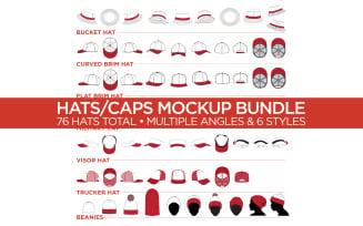 Hats/Caps Bundle - Vector Product Mockup Template