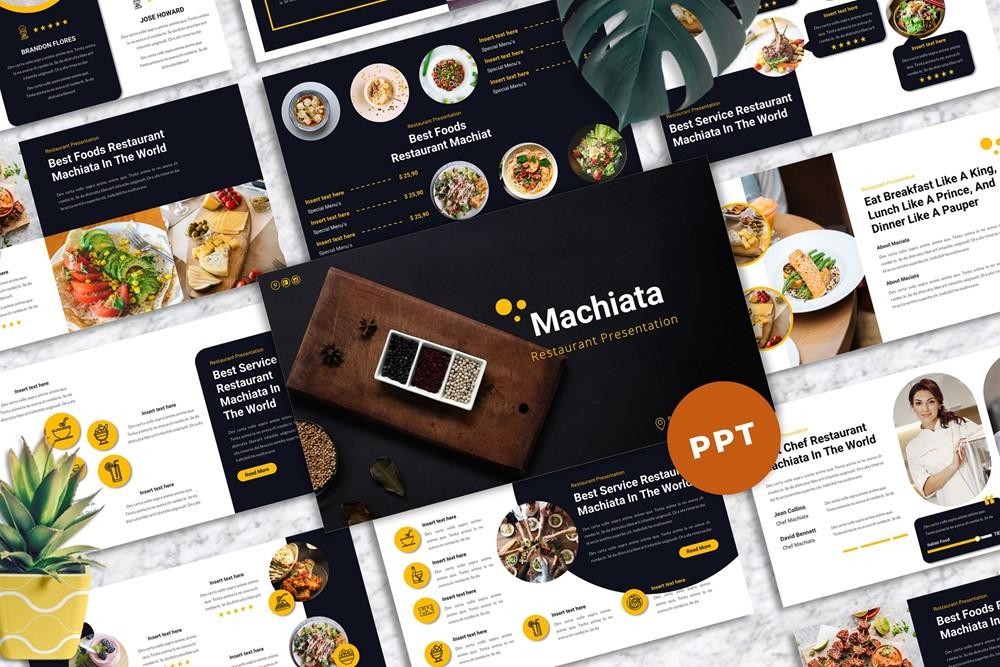 """""""Machiata - Restaurant Powerpoint"""" PowerPoint Template №167903"""