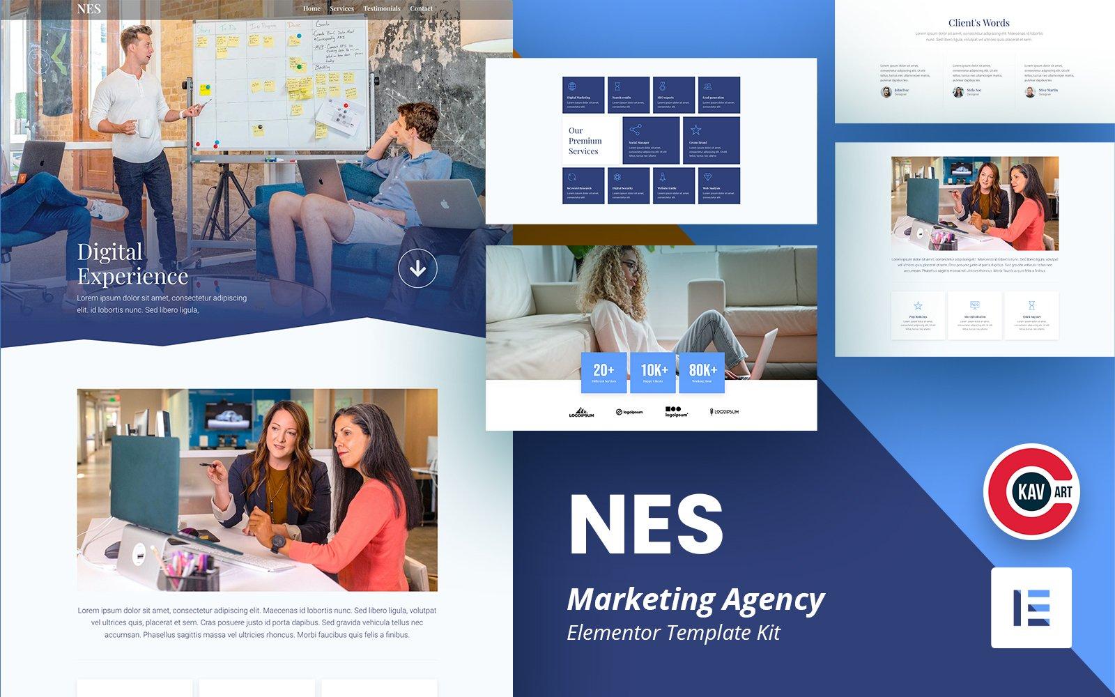 """Nes - Marketing Agency Elementor Kit Template"" Responsive Elementor Template №167934"