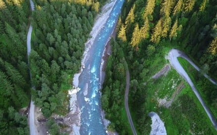 Aerial view of mountain river - video footage Stock Video