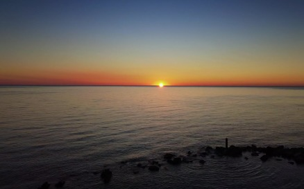 Awesome aerial view of sea sunset - video footage Stock Video