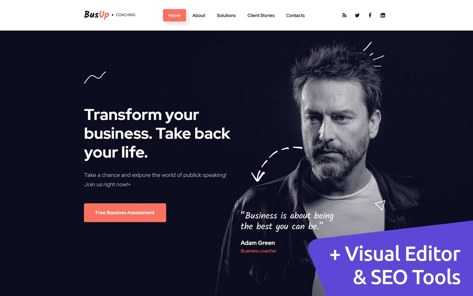"""BusUp - Motivational Speaker Moto CMS 3 Template"" Responsive Moto CMS 3 Template №170153"