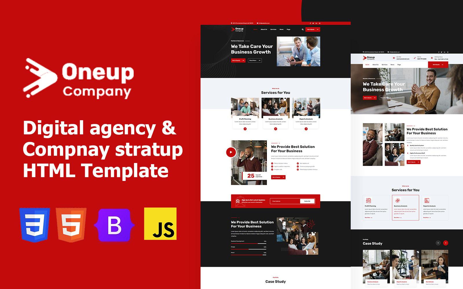 """Oneup Company - Digital Agency Html Website Template"" 响应式网页模板 #170166"