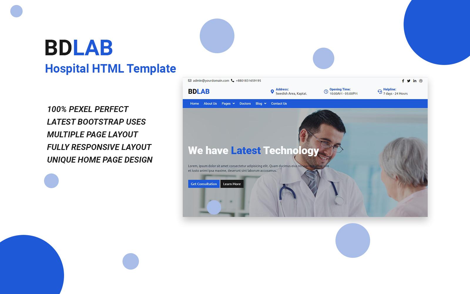 """Responzivní Šablona webových stránek """"BDLAB - Hospital HTML Website Template"""" #170158"""