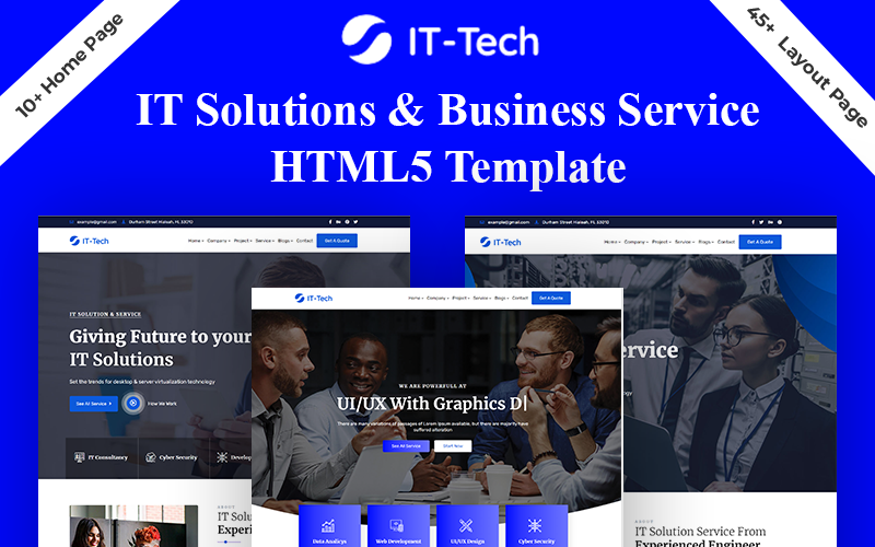 """Responzivní Šablona webových stránek """"IT-Tech IT Solution & Business Service HTML5 Template"""" #170154"""
