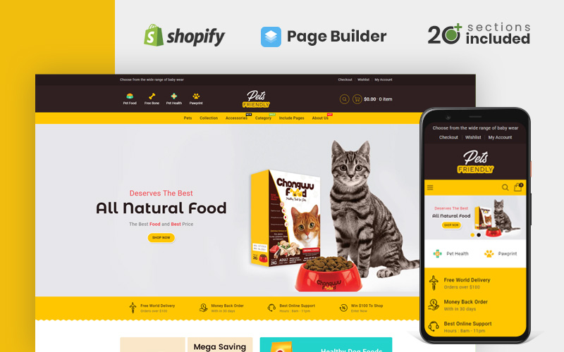 """Pets Friendly Store Shopify Theme"" Responsive Shopify Thema №170489"