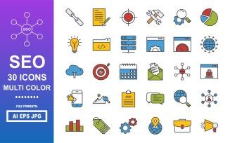 30 SEO Multi Color Icon Pack