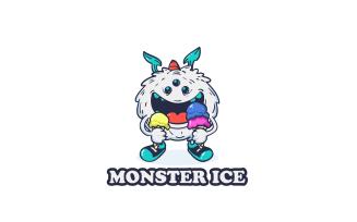 Monster Holding Ice Cream Mascot Logo Template