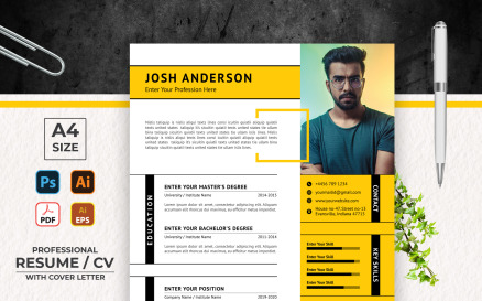 Black and Yellow Printable Resume Templates