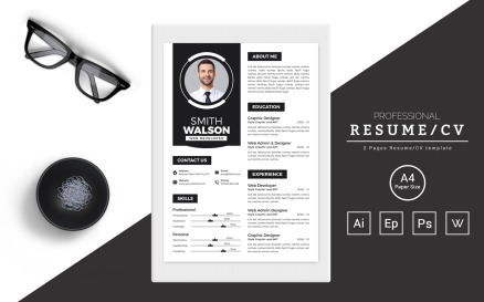 Smith Walson – Resume Design for a Web Developer Resume Template