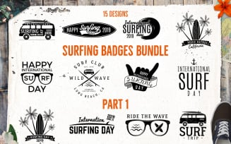 Surfing SVG Bundle Silhouette Badges - Vector Images