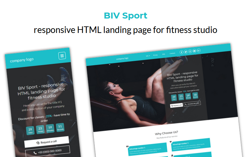 BIV Sport - responsive HTML landing page for fitness studio template
