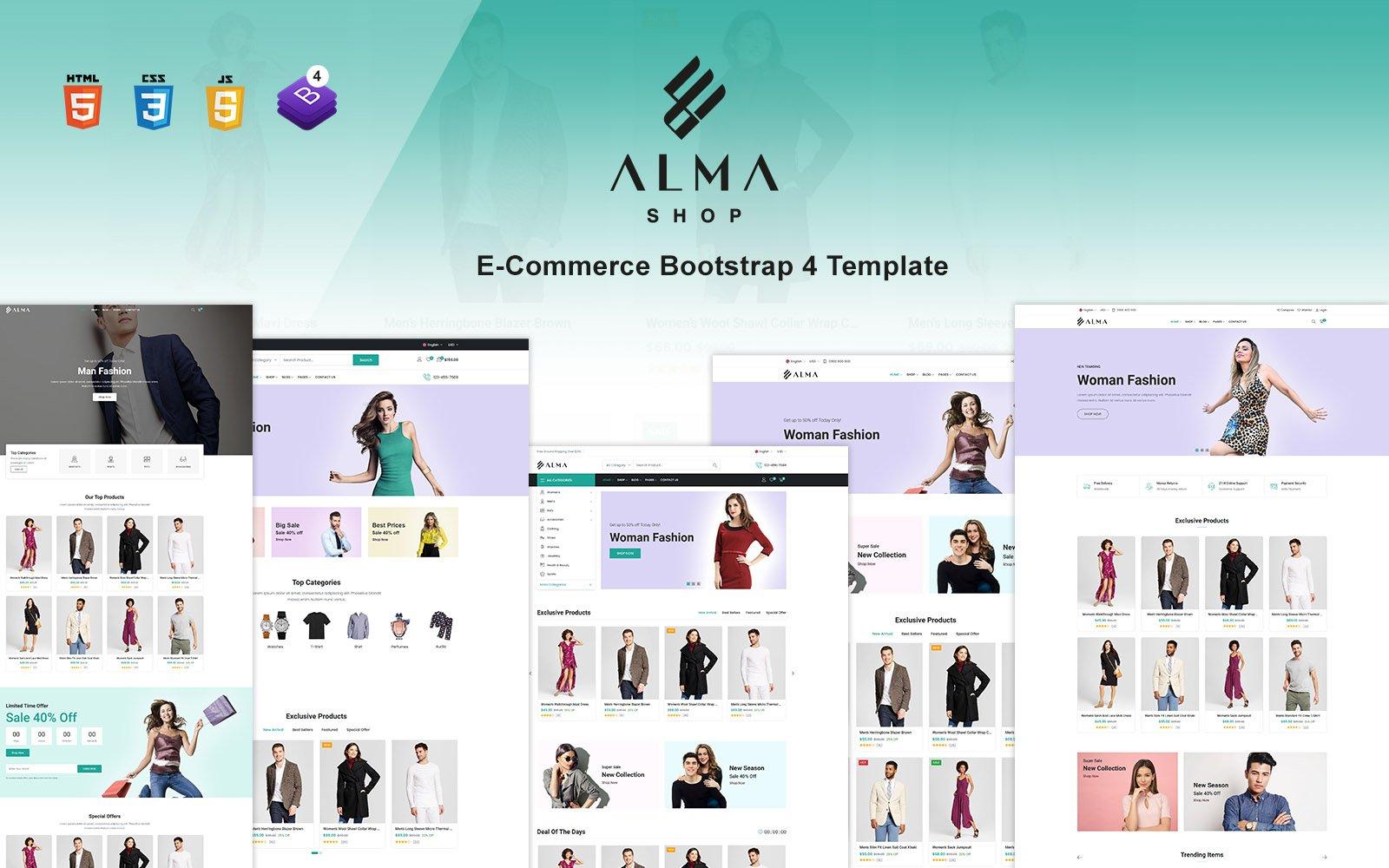 """Alma Shop - eCommerce Bootstrap 4 Website Template"" 响应式网页模板 #170978"