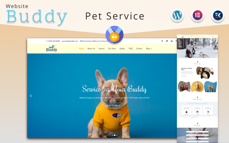 Buddy - Pet Service Elementor WordPress theme Tema WordPress №170963