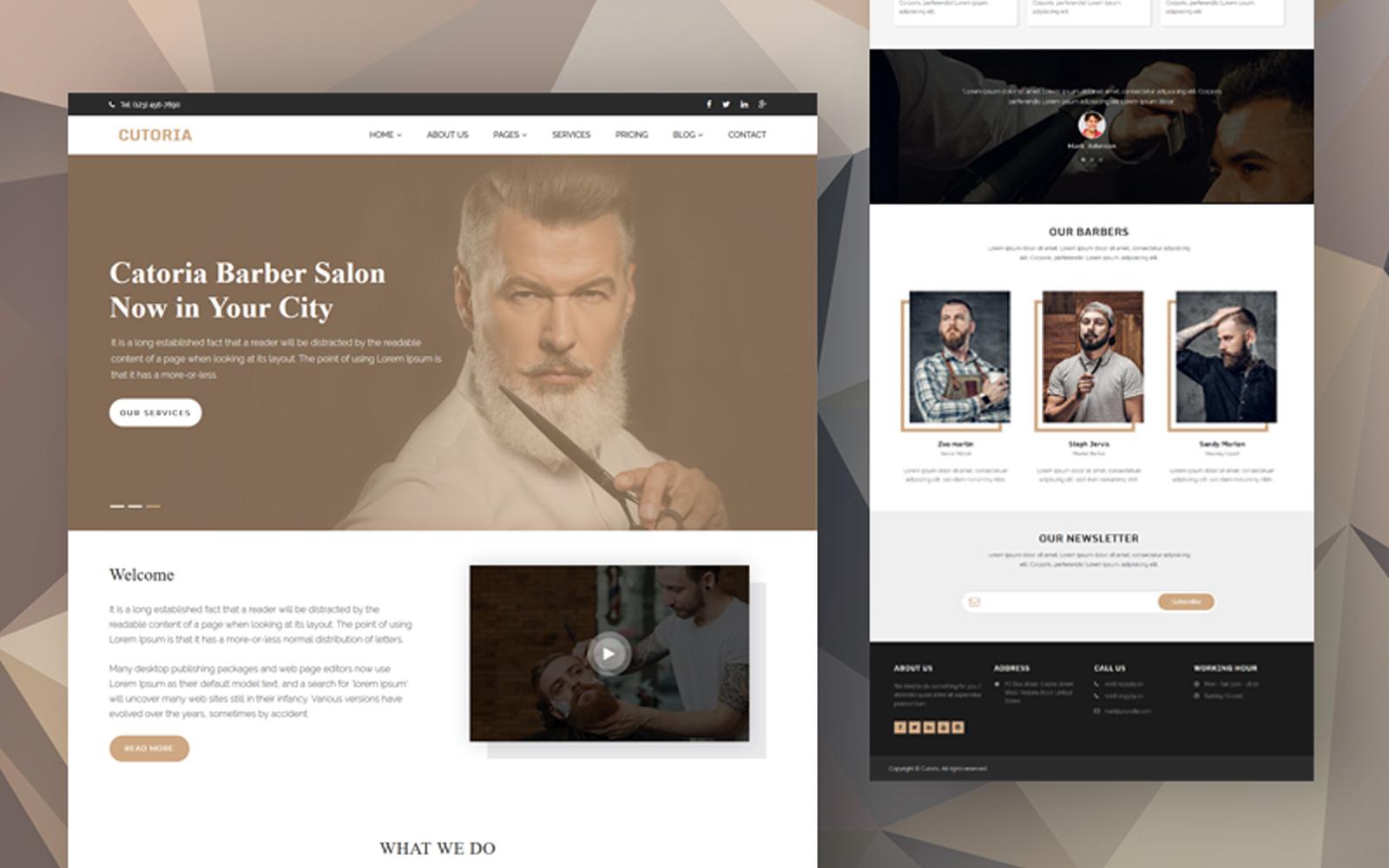"""""""Cutoria - Barber & Salon Website template"""" 响应式网页模板 #170967"""